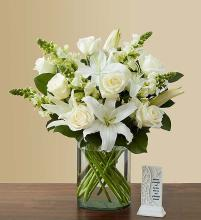 White Sympathy Bouquet with Memory Plaque