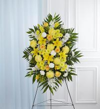 Yellow & White Sympathy Standing Spray